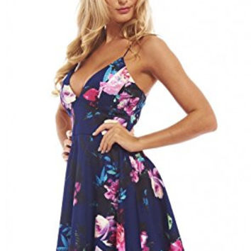 Blue Floral Print V-Neck Crisscross Skater Dress
