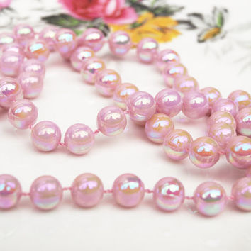 Pink Bead Necklace, Pink Necklace, Faux Pearls, Pastel Pink, Beaded Necklace, Plastic Necklace, Pearlescent, Lustre Beads, Pale Pink - 1980s