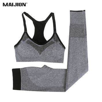 MAIJION Women Quick Dry Elastic Sport Running Set Breathable Yoga Bra & Gym Pants Suits,Absorb Sweat Slim Athletic Fitness Sets