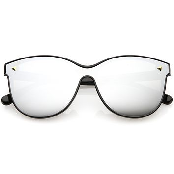 Retro Modern Horned Rim Colored Mirrored Lens Sunglasses C399