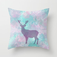 Winter Deer Silhouette Throw Pillow by eDrawings38 | Society6