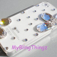 Exquisite Diamond Rhinestone Flower BLING Design on Clear Crystal Back Case for Apple iPhone 4 4G 4S made with Swarovski Elements