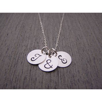 Two Initial Three Disc Ampersand Hand Stamped Personalized Sterling Silver Necklace