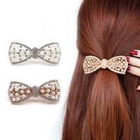 1Pcs Crystal Rhinestone Hair Clips Scrunchy Donut Big Hair Pins Metal Clip Haipins Hair Accessories For Women Lady 2Color