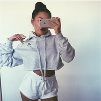 Personality Hollow Ripped Solid Color Casual Long Sleeve Hooded Sweater Women Crop Tops