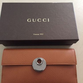 NWT Gucci Women's Genuine Leather Wallet Brown Italy