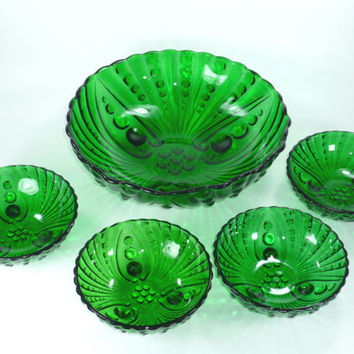 Anchor Hocking Burple Footed Berry Bowl Dessert Set in Forest Green Glass, Vintage
