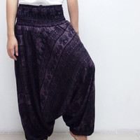 Thai Elephants Black Boho Harem Pants/ Hippie Pants/ Gypsy Aladdin Genie Pants/ Yoga Pants/ Wide Leg Pants (Purple)