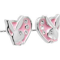 Officially Licensed PLAYBOY Pink HEART Rhinestone Earrings
