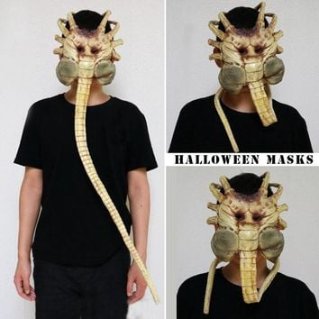 2018 New Shopping Mall Hot Selling 1/1 Alien Contract Worm Model Face Worm Garage Kits Halloween Mask