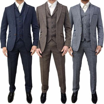 2018 new Men Suits 3 Piece Designer Retro Tweed Herringbone Groom Slim Tailored Fit Suit gray blue brown plus size custom