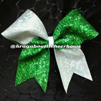 green hologram sequins and white hologram cheer bow