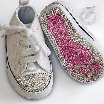 swarovski crystal embellished converse all star baby toddler crib shoe