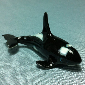 Miniature Ceramic Killer Whale Orca Fish Animal Cute Little Tiny Small Black White Figurine Statue Decoration Hand Painted Collectible Craft