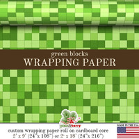 Birthday Party Theme Wrapping Paper| Matte Gift Wrap Green or Brown Blocks  Two Sizes 9 or 18 feet in length Made In The USA