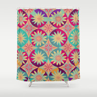 HAPPY FLOWERS Shower Curtain by Nika | Society6