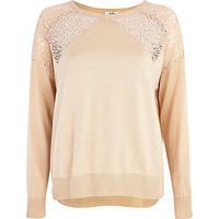 River Island Womens Light pink lace insert sweater