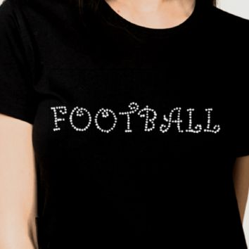 Bling T-Shirts | Women Football-Rhinestones-SHIRT Shop Here!