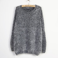 A 081201 Hairy mohair sweater round neck long-sleeved