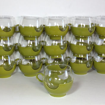 Vintage Pyrex Glasses, Set of 4 Roly Poly Snap Cups, Hot or Cold Coffee Cups, Stemless Wine Glasses, Camping Mugs, Avocado Green Drinkups