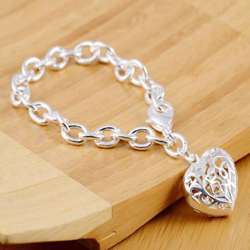 New Fashion silver plated shackles bracelets Ladies Hollow Out Heart Bracelets