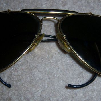 RARE Style VINTAGE Men's RAY BAN AVIATOR Sunglasses 1980s gold