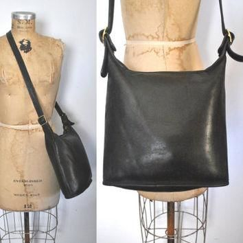 Coach Bucket Bag / DISTRESSED black leather purse tote