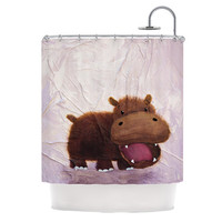 "Rachel Kokko ""The Happy Hippo"" Shower Curtain, 69"" x 70"" - Outlet Item"