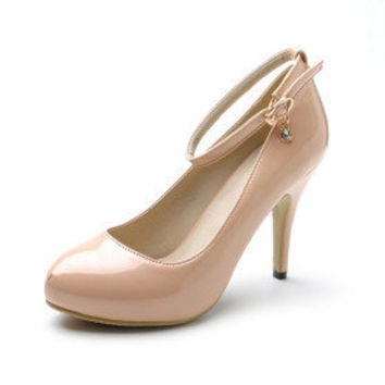 [US$ 34.39] Patent Leather High Heel Pumps With Ankle Strap And Rhinestone Charm (More Colors)