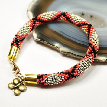 Beaded Bracelet Bead Crochet Rope Toho Seed Beads Geometric