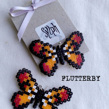 Earrings made of Hama Mini Beads - Flutterby (orange)