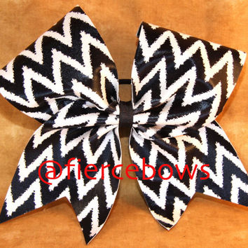 Black and White Chevron Cheer Bow