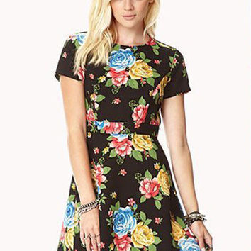 Black Floral Short Sleeve Shirtwaist Pleated Mini Dress