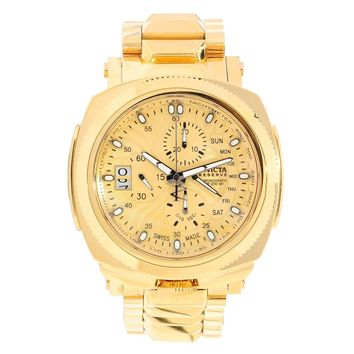 Invicta 12701 Men's Excursion Reserve Gold Tone Dial Gold Plated Steel Chronograph Dive Watch