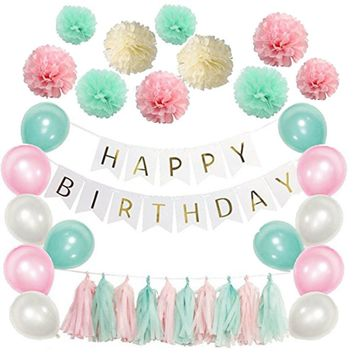 20-PCS Pink Yellow Mint Happy Birthday Theme Decoration Set-DIY Kids Party Set, Tissue Ball, Pink Flags, & Happy Birhday Banner Set