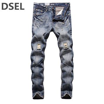 Fashion High Quality Jeans Men Slim Fit Blue Denim Jeans Pants Original Brand Clothing Dsel Men`s Destroyed Jeans 29-40 G604