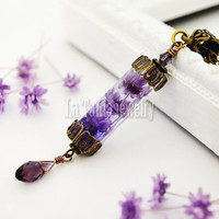 Purple Resin  Flower Lantern Necklace – Purple Dried Flower Pendant, Witchcraft Jewelry,  Hexagonal Column, Transparent Magical Necklace
