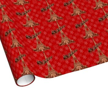 Vintage Santa Paris Snow Christmas Wrapping Paper