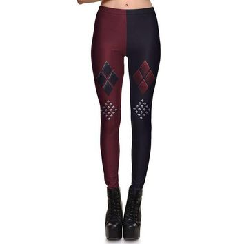 LMFON New Arrival 3753 Sexy Girl Batman Suicide Squad Harley Quinn Printed Elastic Fitness Polyester Workout Women Leggings Pants