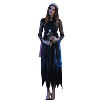 2017 halloween costumes for women Long Maxi  lace Party Dress Beach Dressesvestido de festa cosplay vampire Witches Hot Sale S4