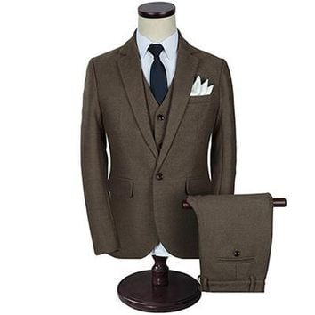 Men's Three Piece Solid Men's Wool Suit Up To Size 5XL