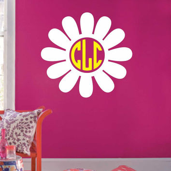Daisy Flower Circle Monogram Decal, Vinyl Wall Lettering, Vinyl Wall Decals, Vinyl Decals, Vinyl Letters, Wall Quotes, Girl Teen Decal