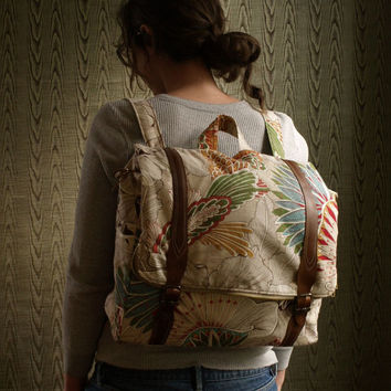custom Convertible backpack messenger travel bag- colorful floral rucksack with adjustable leather straps