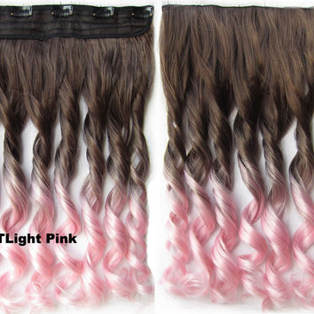 """Dip dye hairpieces New Fashion 24"""" Women Clip in on gradient wig Bath & Beauty Hair Ombre Hair Extensions Two Tone Curly Hair Gradient Hair Extension Colorful Hairpieces GS-888 8T Light Pink,1PCS"""