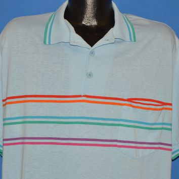191b8d4b8 The Captain's Vintage $44.99. 80s Hobie Blue Striped Polo Shirt Extra Large