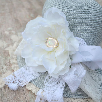 Women's summer straw hat, shabby, Boho Beach hat, Victorian style, french cottage chic, romantic cottage, true rebel clothing
