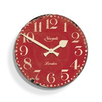 Market Hall Clock Cinema Red | Vintage Red Wall Clock