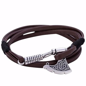 Axe Wrap Around Anchor Leather Bracelet