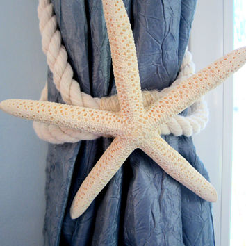 Beach Decor Starfish Curtain Tie Back  - Nautical Decor Starfish Curtain Tie-Back - White or Brown