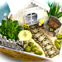 White Chapel Garden Kit ~ Birchwood Planter ~ Herb Garden ~ Believe Pillow and Bible ~ Fake Succulent Option at Checkout ~ Sand NOT Included
